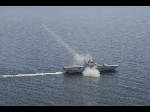 RBS15 Mk2  launched from Visby class stealth corvette