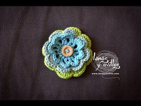 Tutorial flor crochet o ganchillo paso a paso en espa ol - Hacer flores de ganchillo ...