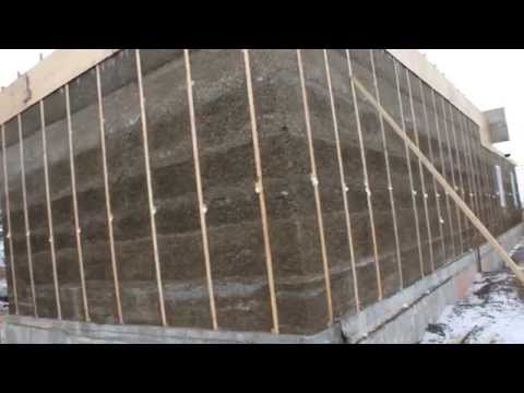 Монолитная стена из арболита