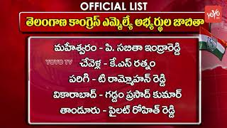 Telangana Congress MLA's Contestants Official List Out (65) | TS Election 2018