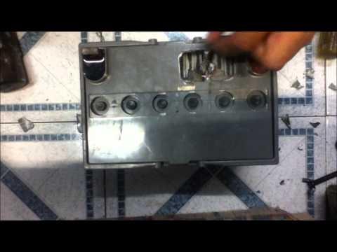 reparando batería de 12 volts union de bornes internos