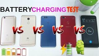 Battery Charging Test Oppo F7 VS Honor 7X VS Redmi 5 VS Redmi 5A