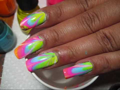 Neon Water Marble Nails 1 Water Marble Nail Art