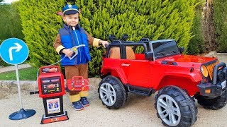 Unboxing and Assembling Fuel Station FUNNY BABY Paw Patrol repair Jeep Ride On POWER WHEEL
