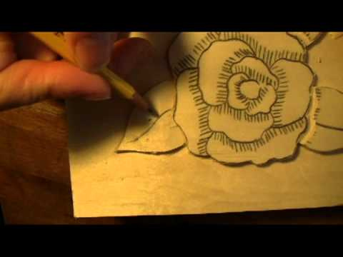 Mary may carving the leaves for a camellia How to carve designs in wood