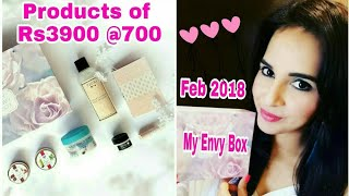 My Envy Box Feburary 2018 | Products of Rs3900 @700 | Unboxing & Review | Giveaway Open ❤
