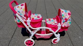 Best Baby Doll Twin Stroller Double Pram Unboxing Set Up Pretend Play with Baby Annabell