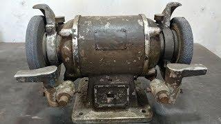 Tear Down Old Bench Grinder - Disassembly for Restoration - ASMR