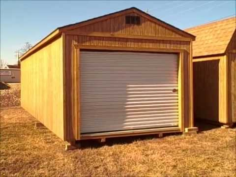 Derksen portable buildings 12x32 portable garage youtube for 20 x 25 garage kits