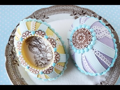 How to Make Cast Sugar Easter Eggs with Fondant Appliqués - Húsvéti tojás fondantból