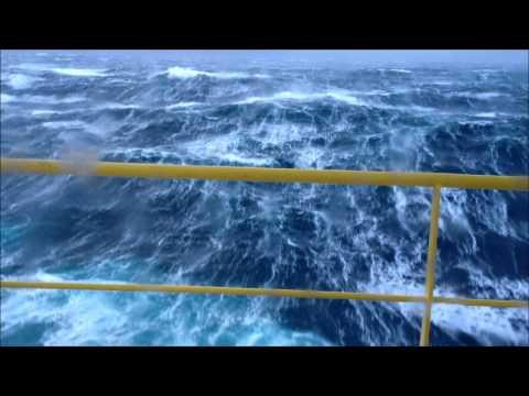 Huge waves on an oil platform! Crazy mother nature!