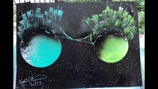 Spray Paint Art - Space Cities By Dimkad Art
