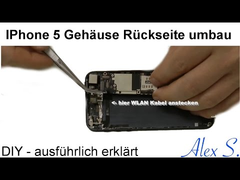 IPhone 5 Gehäuse, Rückseite, Backcover wechseln, tauschen, umbauen, Deutsch, reparieren