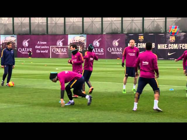 FC Barcelona training session: Copa del Rey final in the bag