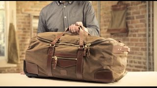 The Large Roller Duffle   Waxed Canvas & Leather Rolling Duffle Bag