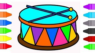 Drums Coloring Pages for Kids | Musical Instruments Coloring Book for Children