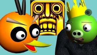 TEMPLE RUN starring ANGRY BIRDS  3D animated  game mashup  FunVideoTV - Style ;-))