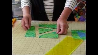 "How to make a Wonky Triangle Block starting with 8"" squares - Quilting Tips & Techniques 049"