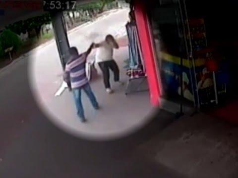 Vídeo mostra tentativa de homicídio contra comerciante, em Araguapaz