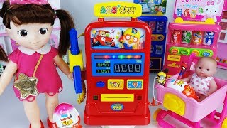 Pororo Gas station and Tayo bus car toys Baby doll surprise eggs play - 토이몽