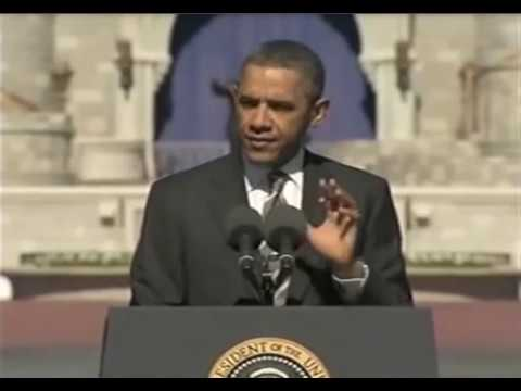 President Obama speaks at Walt Disney World in the Magic Kingdom
