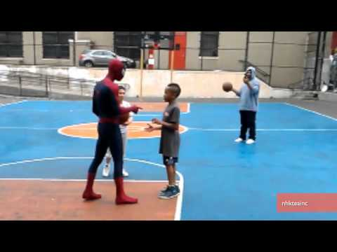 Andrew Garfield Plays Basketball with Kids in Spiderman Costume