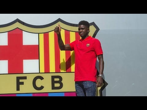 Samuel Umtiti's first photo session as a FC Barcelona player