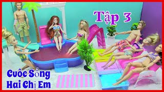 Cuộc Sống Hai Chị Em Công Chúa Tóc Dài (Tập 3) Tập Yoga Và Đi Tắm Hồ Bơi Gelli Với Barbie Ken