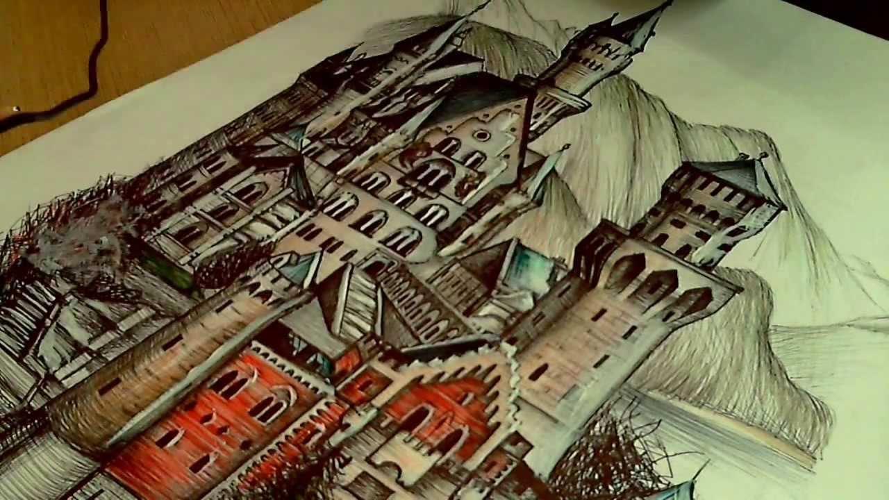 Drawing Neuschwanstein Castle New Swanstone Castle
