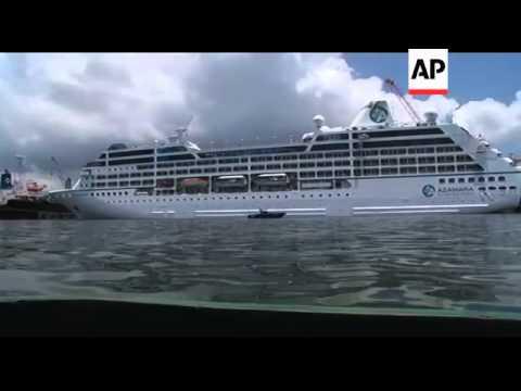 Fire-stricken cruise ship Azamara Quest docked in harbour