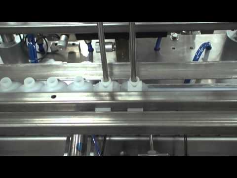 ACASI PI 3100 Automatic 2-Head Piston Filler Filling Small Plastic Oval Bottles with Water