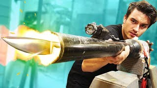Launching KNIVES Out Of A CANNON!!