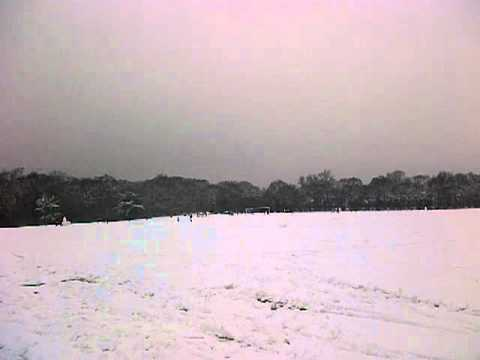 Panoramic view of Forester Park London in the snow.