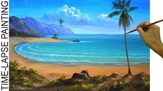 How to Paint a Tropical Beach with Palm Trees | Acrylic Painting in Time lapse