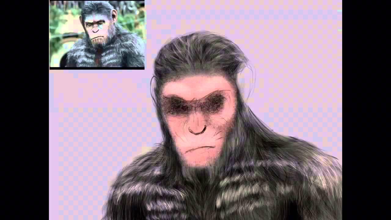 Caesar Monkey Drawing Dawn Planet Apes Caesar Draw