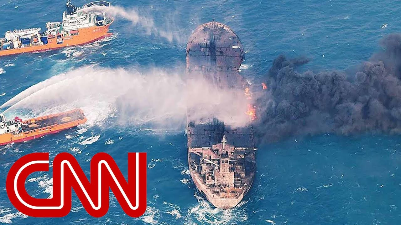 Burning oil tanker sinks in the East China Sea