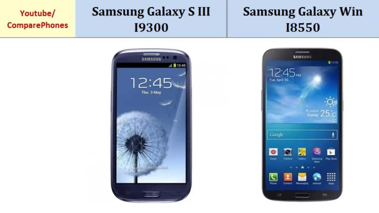 Samsung Galaxy S III I9300 Vs Samsung Galaxy Win I8550 ...