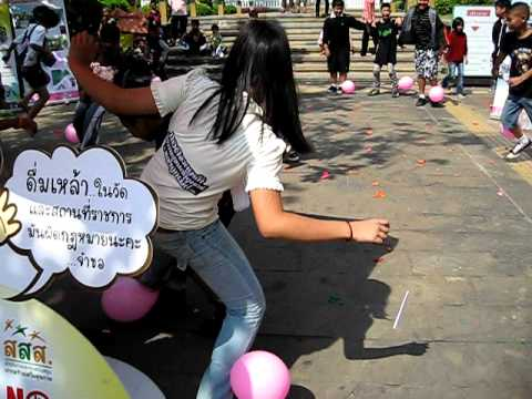 Balloon Popping Girl In Bangkok video