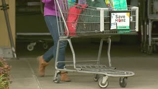 Locking carts to prevent thefts at Fred Meyer