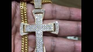 14K yellow gold cross with 7.5 Ct diamonds