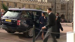 Prince William, Duchess Kate, Prince Harry and Duchess Meghan Arriving at the Royal Wedding