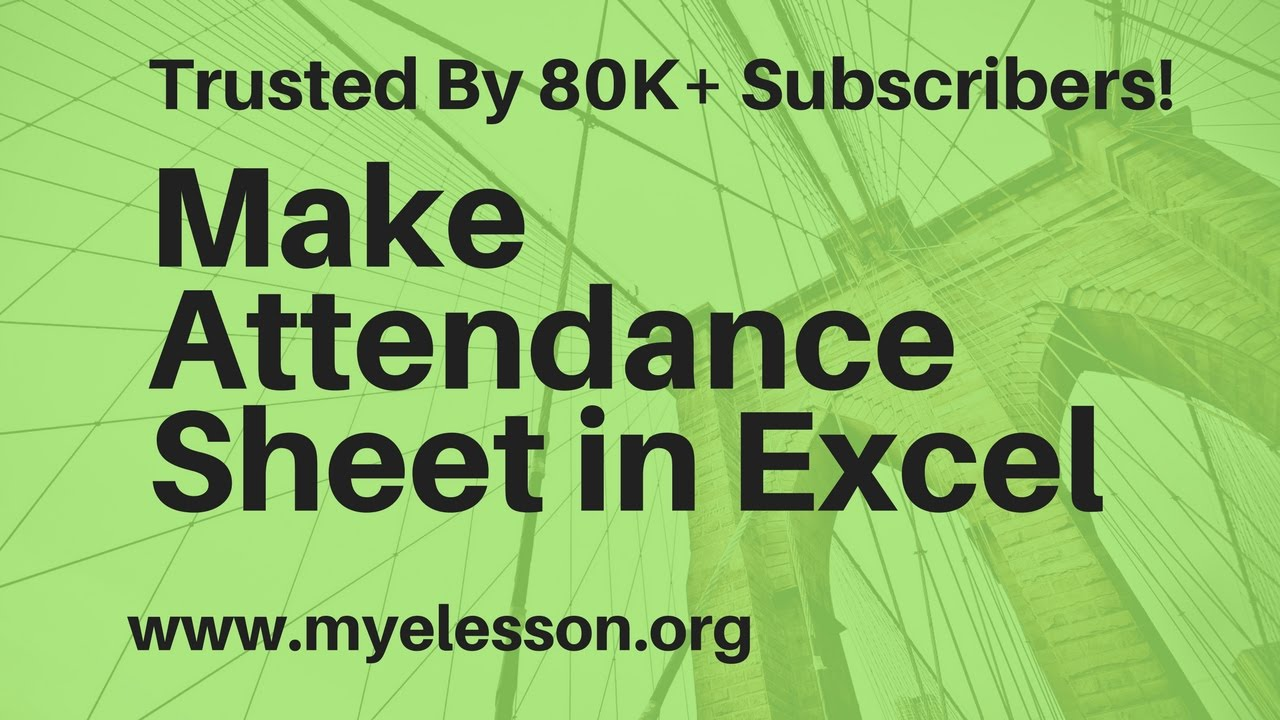How To Make Attendance Sheet In Excel Hindi Youtube