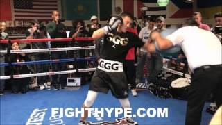 GENNADY GOLOVKIN DESTROYS PUNCH SHIELD; SMILES AS HE DISPLAYS MONSTER POWER FOR JACOBS CLASH