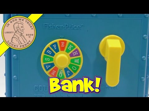 Fisher-Price Count & Save Bank #6614 1989 - Working Plastic Toy Bank