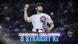 Darvish fans eight straight