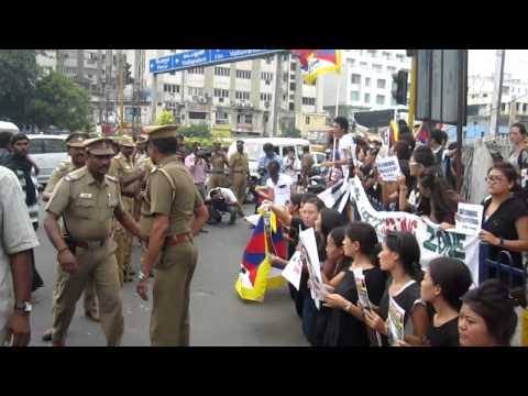 Tibetan students in chennai protest against chinese leaders