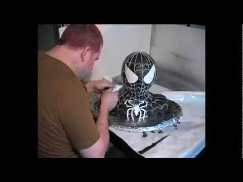 How to make a Spiderman Bust Cake