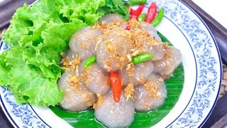 Tapioca Balls with Pork Filling (Thai Appetizer) - สาคูไส้หมู Saku Sai Moo