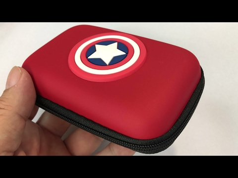Captain America hard sided headphones cord case review