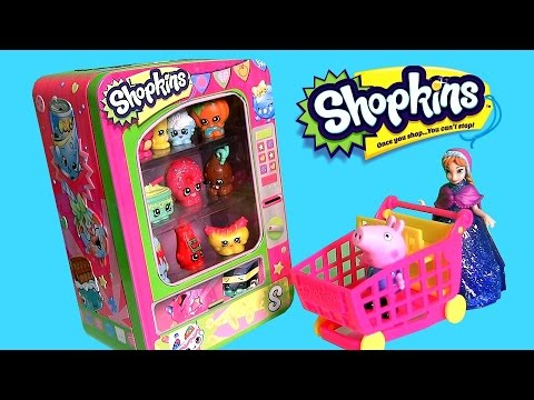 Shopkins Vending Machine Storage Tin - Watch Disney Frozen Princess Anna Shopping Surprise Basket